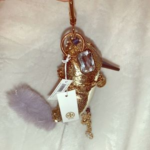 Tory Burch hummingbird bedazzled/gold keychain
